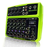 6-Channel Audio Mixer Interface DJ Controller with USB for Live Streaming, Bluetooth Sound Card 48V Phantom Power Mixer for PC Recording Singing Webcast Party (Green)
