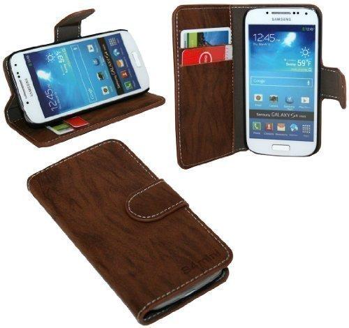 ENERGMiX Buchtasche Hülle kompatibel mit Samsung Galaxy S4 Mini i9195 Case Tasche Wallet BookStyle mit STANDFUNKTION Braun