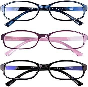 3 Pack Blue Light Blocking Reading Glasses Anti Glare Computer Readers +2.5 for Women Men Ladies Magnification Eyeglasses