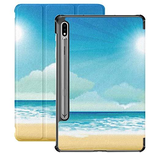Funda Galaxy Tablet S7 Plus de 12,4 Pulgadas 2020 con Soporte para bolígrafo S, Funda Protectora Tipo Folio con Soporte Delgado para Playa Tropical Sea Bright Sun para Samsung