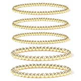 Gold Bead Bracelet for Women,14K Gold Plated Bead Ball Bracelet Stretchable Elastic Bracelet (Style-1)…