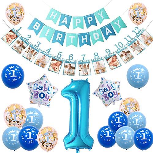 sancuanyi 1er Cumpleaños Bebe Globos Decoracion Cumpleaños 1 Año Bebe Niño (Azul)