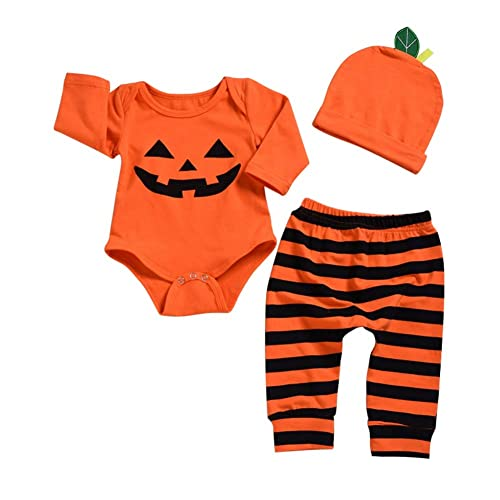 c30cb3c6d6b6 Boy Girl Halloween Costumes Newborn Baby Pumpkin Outfit Long Sleeve Romper  Pant Hat 3 Pieces Clothes