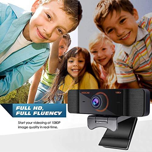 Webcams mit Mikrofon, 1080P Full HD mit Webcam Abdeckung, USB Webcam mit Stativ, Mini Plug and Play für Desktop & Notebook,Web cam ideal für Streaming, Konferenzen, Videoanruf und Live Übertragungen