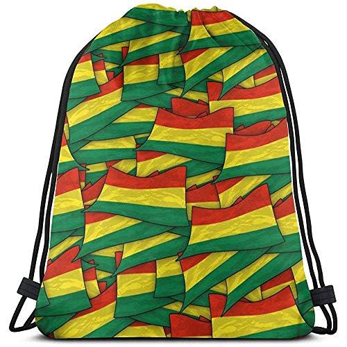 GeorgoaKunk Mochila con cordón Bolivia Flag Wave Collage 3D Print String Bag Sackpack Cinch Tote Bags Regalos para Mujeres Hombres Gimnasio Compras Deporte Yoga