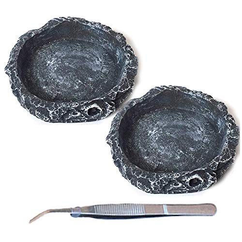 Tfwadmx Reptile Water Bowls Reptile Feeder Food Dish with Tongs for Tortoise Lizard Bearded Dragon Frog Leopard Gecko Snake Chameleon (3 Pcs)
