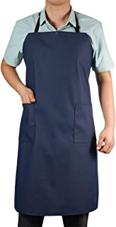 VWELL Rubber Vinyl Waterproof Apron with 2 Pockets, Long Chemical Resist Cooking Aprons for Men Women Chef, Adjustable Bib Blue Apron, for Dishwashing, Butcher, Dog Grooming, Cleaning Fish (blue-41.5)