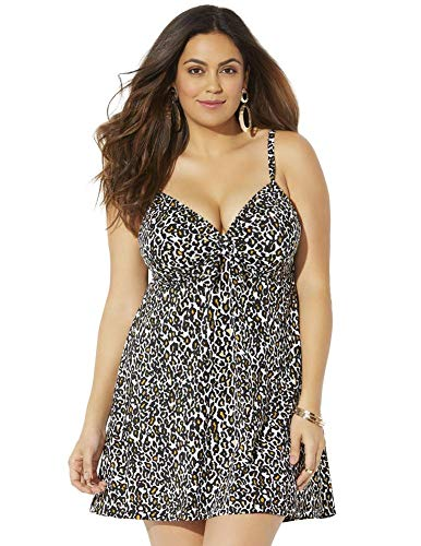 Swimsuits For All Women's Plus Size Tie Front Underwire Swimdress 22 New Leopard