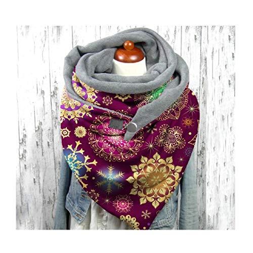Tireow - Pañuelo de Navidad para mujer, diseño de estrellas, impresión suave, para envolver bufandas cálidas, chales con botón, chales de cachemira Wraps, chales cálidos de Navidad (C4)