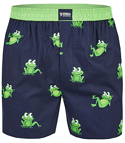 Happy Shorts Herren American Boxer Boxershorts Shorts Webboxer Frosch Frog, Grösse:L, Präzise Farbe:Prince Frog