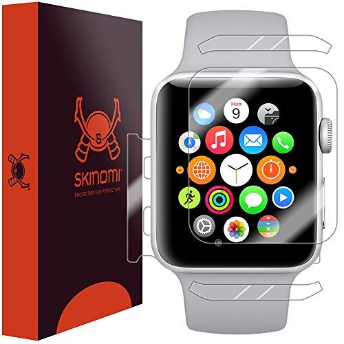 Skinomi TechSkin, Schutzfolie kompatibel mit Apple Watch Series 3 (38 mm), Vorder- und Rückseite, wasserabweisend