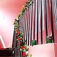 人工バラのつるの花の部屋の装飾、偽の植物緑の葉とバラのツタ、ホームホテルのオフィスの結婚式のパーティーガーデンクラフトの壁の装飾のためのバラ造花-D