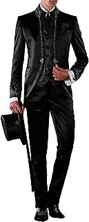 Suit Me Uomo 3 tuta da sposa fermo collare Party Vestito con ricamo del vestito giacca, gilet, pantaloni