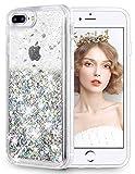 wlooo Funda iPhone 8 Plus, Glitter Silicona Liquid Case Lujo Bling Sparkly Cute Cover Protección Suave TPU Bumper Cristal Transparente Carcasas para iPhone 6 Plus/6s Plus/7 Plus/8 Plus (Plata)