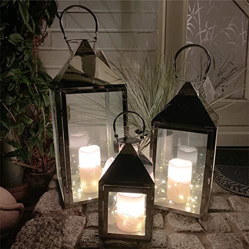 Mojawo Traumhaftes 3er Set XXL Gartenlaterne Edelstahl Windlicht Laternen Set Höhe 24/40/53cm + 3 LED Tropfen Lichterkette + 3'er LED Echtwachskerze