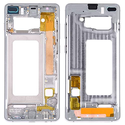 BEIJING  SCREENCOVER+ / Placa del Bisel de Marco Medio con Llaves Laterales para Samsung Galaxy S10 +, Reemplazo LCD Placa Placa ATRÁS BIELEL (Color : Silver)