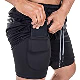 EVERWORTH Men's 2-in-1 Bodybuilding Workout Shorts Lightweight Gym Training Short Running Athletic Jogger with Zipper Pockets Black M Tag XL