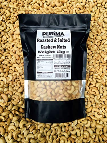 Roasted Salted Cashew Nuts 1kg – 100% Fresh Whole Hand Roasted Salted Cashews - Savoury Salty Nut Premium Roast Protein Crispy Crunchy Snack - Large Bulk Bag – Non GMO Natural Ingredients Vegan PURIMA