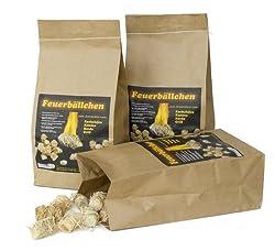 RaiffeisenWaren 4321901 Kaminanzünder, Feueranzünder, Feuerbällchen (Anzünder ökologisch, aus Naturprodukten - Wachs, Naturholz; Nässe unempfindlich; Brenndauer ca. 10 min) 2,5 kg Naturholz