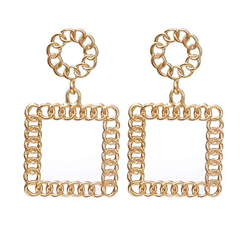 FEARRIN Pendientes para Mujer Pendientes Colgantes geométricos con Cadena de Moda para Mujer Pendientes de Boda con Encanto de Gota Joyería Femenina LNI085-01