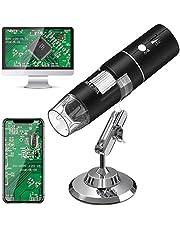 Heystop USB-microscoop, wifi, digitale microscoop, 1080p HD, 2MP mini-camera, 50 tot 1000x vergroting, endoscoop, 8 leds, digitale microscoop met metalen standaard, compatibel met iPhone iOS, Android, iPad, Windows, Mac