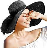 DRESHOW Sombrero Paja Mujer Plegable Verano Sombrero Verano Sombrero ala Ancha Mujer Sombrero de Playa Plegable UPF 50+