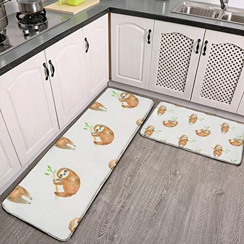 Juego de 2 alfombras de cocina para bebé, perezosos de bebé, alfombra de franela, antideslizante, lavable, juego de alfombras de baño
