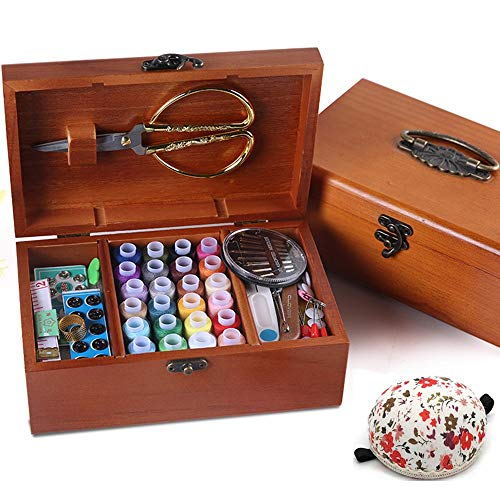 Review Wooden Sewing Basket with Accesssories Sewing kit Compartments, 8.5 x 5.3 x 3Inches