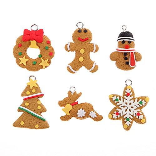6PCS Anhänger Dekoration Hängekorb Mignon Salzteig Anhänger Geschenk für Weihnachtsbaum Ornament Dekoration von Heiligabend Weihnachten