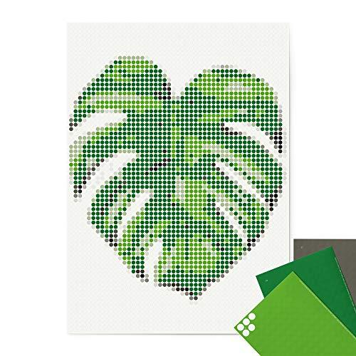 dot on art Monstera Poster - 50 x 70 cm – Bastelset für Erwachsene - Bilder mit Klebepunkten - Stickerset Mosaik Set - Aufkleber Basteln Selbermachen DIY - Monstera Palme Pflanze