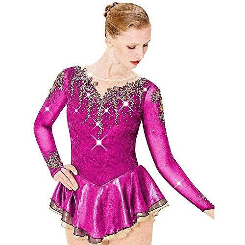 HYQW Eislaufkleider Handgefertigte Figur Professionelles Wettkampfkostüm Auf Bestellung Langarmkleid Glänzendes Diamant-Eiskunstlaufkleid,Pink-Child14