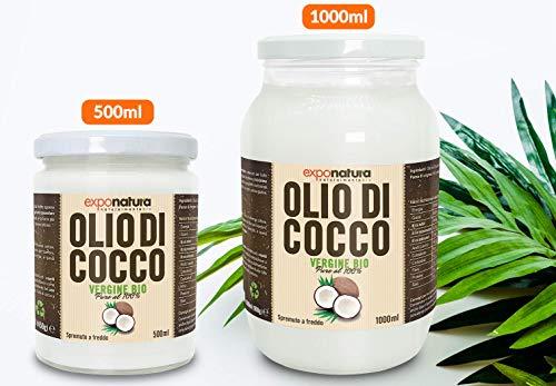 Olio di Cocco Biologico Premium 500ml - Puro al 100% - Crudo e Spremuto a Freddo dal Frutto Fresco - Non Raffinato - Ad Uso Alimentare - Ideale sui Capelli e sul Corpo - Origine Sri Lanka - Exponatura