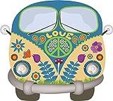 Pegatina Hippie Furgoneta-Flower-Power | vehículo_269 | Paz y amor colorido | para ordenador portátil laptop vehículo autocaravana | resistente a la intemperie