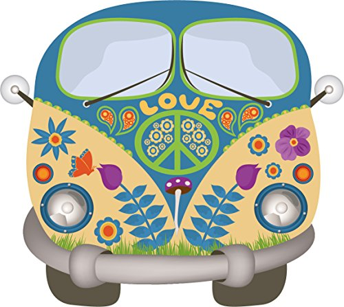 easydruck24de Hippie Sticker Flower-Power-Bus Sticker Bulli kfz_269 10cm x 9cm Digitale druk + UV-beschermend laminaat