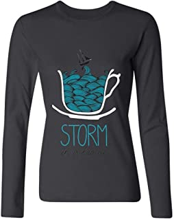 Storm In A Teacup Long-Sleeve Cotton Cool T-Shirt Tommery Womens XXL