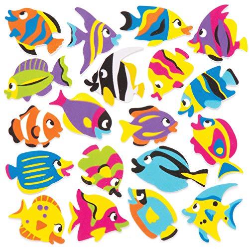 "Baker Ross Moosgummi-Aufkleber ""Tropische Fische"" (120 Stück) – Moosgummi-Aufkleber mit Fischmotiven für Collagen und Bastelarbeiten"