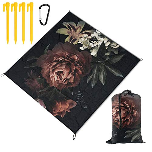 Best Deals! Hucuery Picnic Blanket 59 X 57 in Floral Vintage Card with Flowers Foldable Waterproof E...