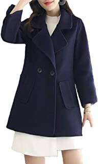 Macondoo Women's Casual Double-Breasted Wool Blend Outwear Peacoats