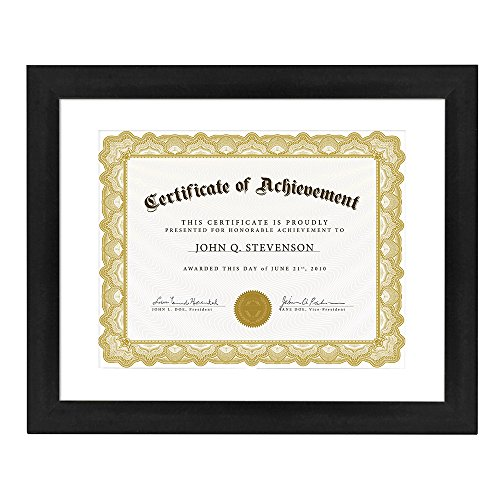 Betus Elegance Wood Certificate Frame Letter Size for 8.5x11 inch for 11x14 Without Mat - Documents, Diplomas & Degrees - Wall Mounting Tools Included - Black