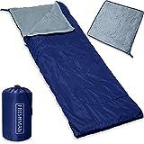Deuba Monzana Saco de Dormir y Manta 2 en 1 Antracita Azul Oscuro Suave de Poliéster 190x75cm con Cremallera para Camping Exterior