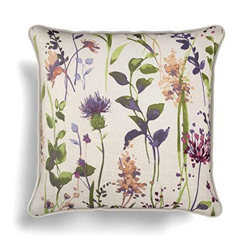 IT IDEAL TEXTILES Purple Floral Cushion Cover, Multi Hampshire Country Watercolour Flowers Cotton Blend Cushion Covers, Sofa Chair Bed Throw Cushion Cases, 18' x 18', 45cm x 45cm