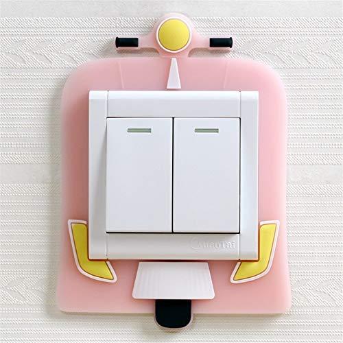 ZZLLFF 3 pcs 3D Linda de Pared de Silicona en Interruptor Pegatinas Luminosa de los niños Interruptor de la luz decoración del hogar (Color : 09)