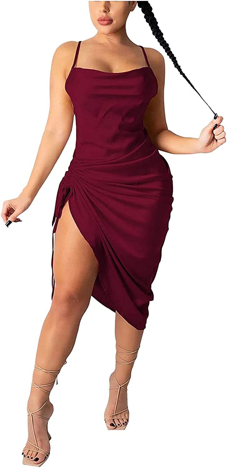 Johtae Club Dress,Women Summer Sexy Ruched Midi Dress Adjustable Sling Bodycon Split Slip Night Out Party Clubwear Dresses