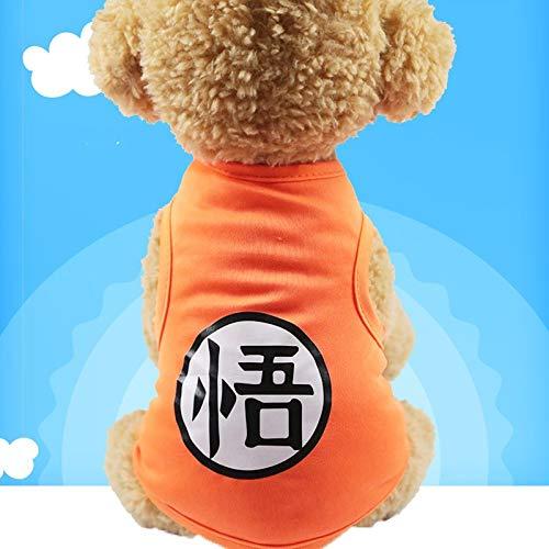 HKHJN Spot huisdier grootte hond kleding trui sportmodellen kat levert lente, zomer, herfst en winter nieuw, S, Cool vest Orange Goku