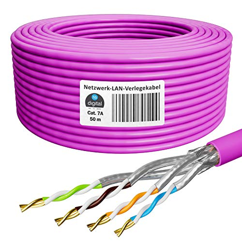 HB-DIGITAL 50m Cable de red cat.7A Cable de instalación LAN AWG 23/1 Purple Cable cat 7 cobre profesional S/FTP PIMF LSZH Libre de halógenos RoHS-Compliant Cable de datos Ethernet 10Gbit 1000MHz