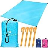 Manta de Playa portátil Azul, tapete Impermeable para el Parque: ¡no ocupa Espacio! Lona Grande para mochilero, Picnic, Deportes al Aire Libre, Festivales, Camping + Accesorios