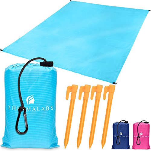 Pocket Size Beach Blanket, Waterproof Picnic Mat for The Park, Large Sandless Beach Sheet: Takes Zero Place! Big Tarp for Backpacking, Picnic, Outdoor Sports, Festivals, Camping (Blue) + Accessories