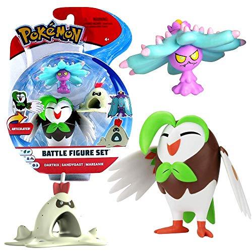 Auswahl Battle Figuren | 3er Set | Pokemon | Action Spielfiguren zum Sammeln, Spielfigur:Arboretoss. Sankabuh & Garstella