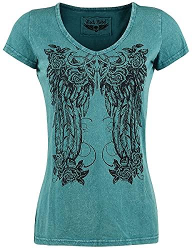 Rock Rebel by EMP Shades of Truth Mujer Camiseta Petróleo XS, 100% algodón, Regular