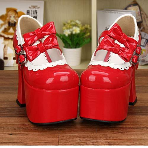 HHXXTTXS Plataforma Gruesa para Mujer Tacones súper Altos Zapatos de Lolita Dulce Adornos de Encaje Blanco Zapatos Mary Jane Pumps